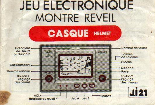 Notice du Game & Watch Helmet (CN-07) en version J.i21
