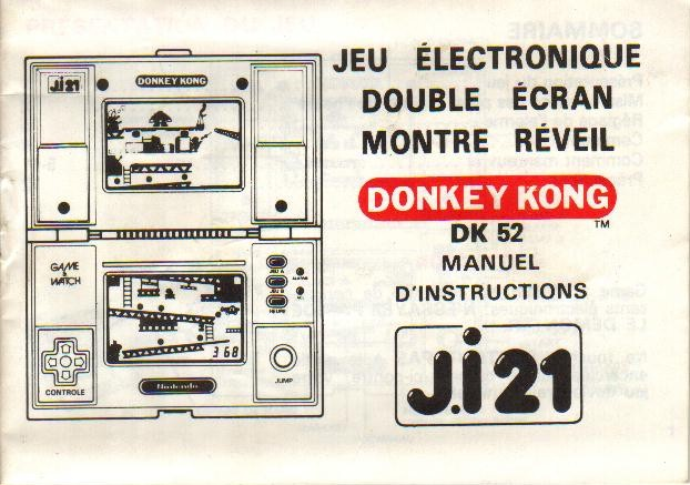 Notice du Game & Watch Donkey Kong (DK-51) en version J.i21 (version 1)