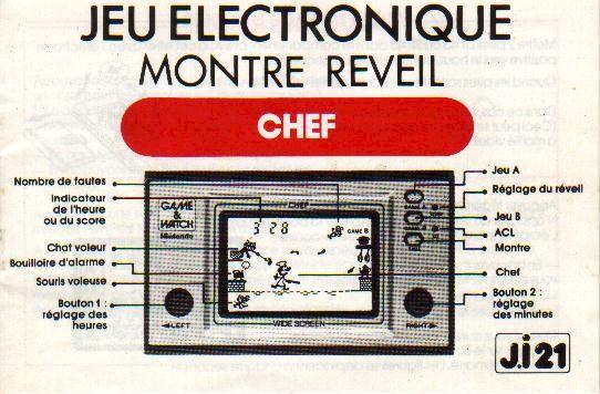 Notice du Game & Watch Chef (FP-24) en version J.i21