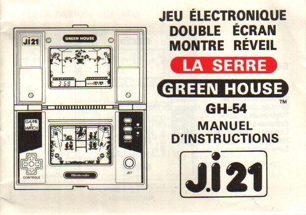 Notice du Game & Watch Green House (GH-54) en version J.i21