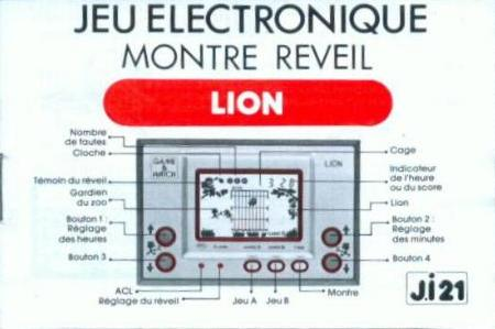 Notice du Game & Watch Lion (LN-08) en version J.i21