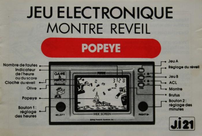 Notice du Game & Watch Popeye (PP-23) en version J.i21